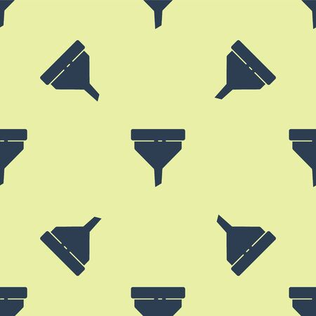 Blue Funnel or filter icon isolated seamless pattern on yellow background. Vector Illustration