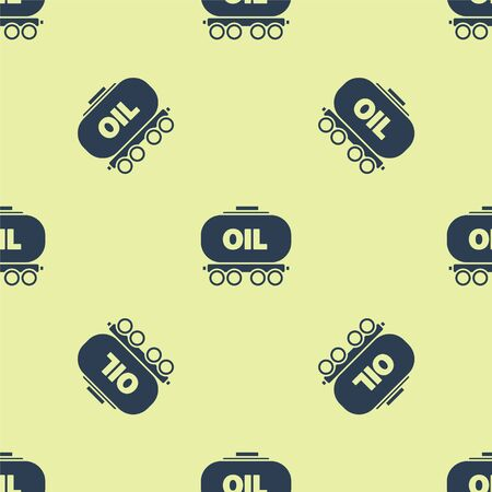 Blue Oil railway cistern icon isolated seamless pattern on yellow background. Train oil tank on railway car. Rail freight. Oil industry. Vector Illustration Illustration