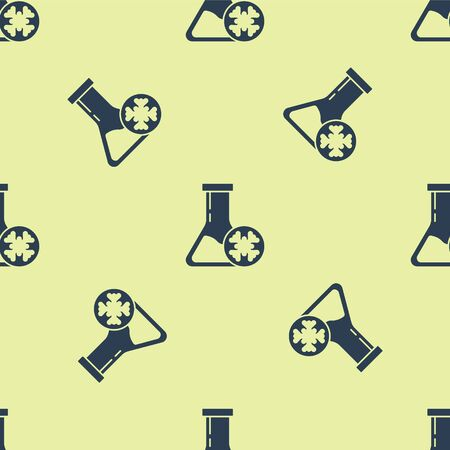 Blue Antifreeze test tube icon isolated seamless pattern on yellow background. Auto service. Car repair. Vector Illustration