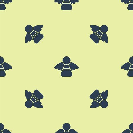 Blue Christmas angel icon isolated seamless pattern on yellow background. Vector Illustration