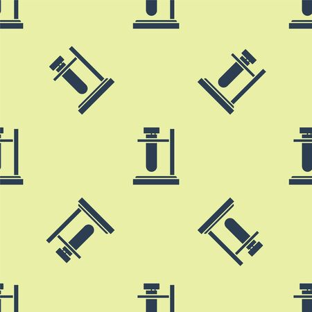 Blue Glass test tube flask on stand icon isolated seamless pattern on yellow background. Laboratory equipment. Vector Illustration