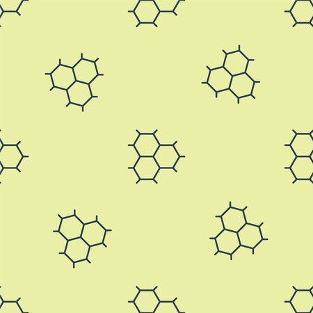 Blue Chemical formula consisting of benzene rings icon isolated seamless pattern on yellow background. Vector Illustration