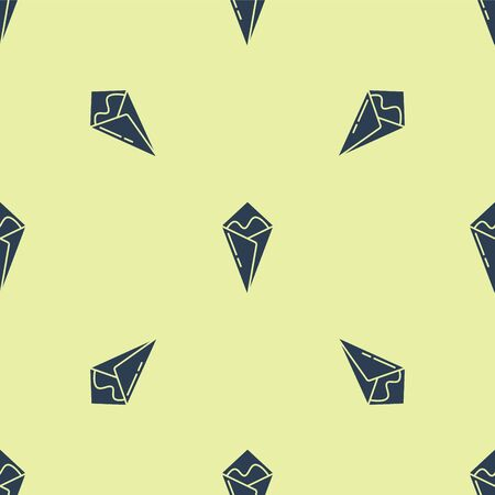 Blue Temaki roll icon isolated seamless pattern on yellow background. Traditional Japanese food. Vector Illustration