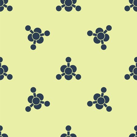 Blue Bacteria icon isolated seamless pattern on yellow background. Bacteria and germs, microorganism disease causing, cell cancer, microbe, virus, fungi. Vector Illustration