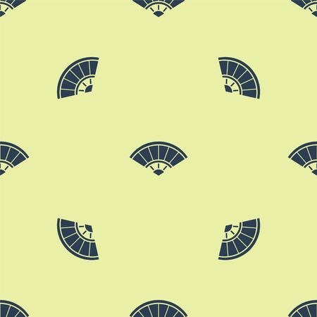 Blue Traditional paper chinese or japanese folding fan icon isolated seamless pattern on yellow background. Vector Illustration Vettoriali