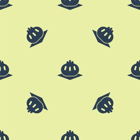 Blue Khinkali on cutting board icon isolated seamless pattern on yellow background. Traditional georgian dumpling. Vector Illustration