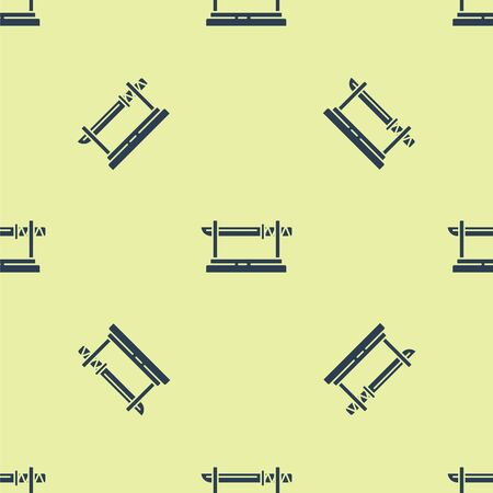 Blue Traditional Japanese katana on a wooden stand icon isolated seamless pattern on yellow background. Japanese sword. Vector Illustration