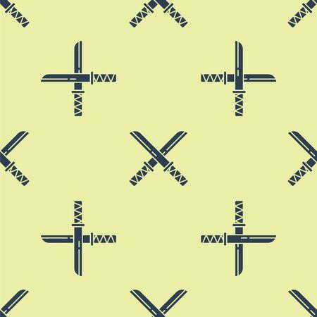 Blue Traditional Japanese katana icon isolated seamless pattern on yellow background. Japanese sword. Vector Illustration