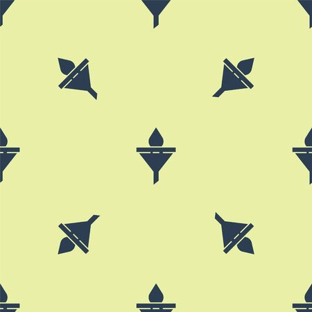 Blue Funnel or filter and motor oil drop icon isolated seamless pattern on yellow background. Vector Illustration
