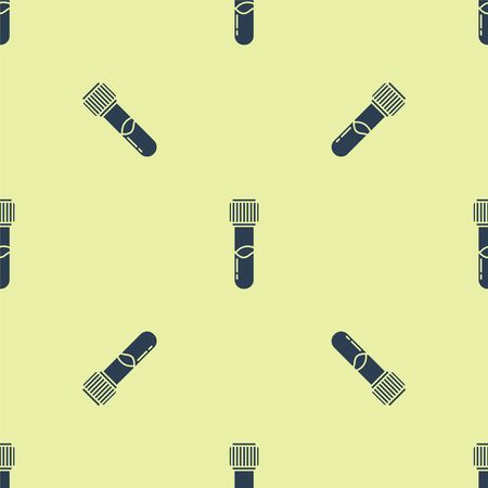 Blue Test tube and flask chemical laboratory test icon isolated seamless pattern on yellow background. Laboratory glassware sign. Vector Illustration