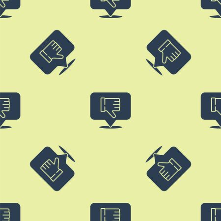 Blue Dislike in speech bubble icon isolated seamless pattern on yellow background. Vector Illustration
