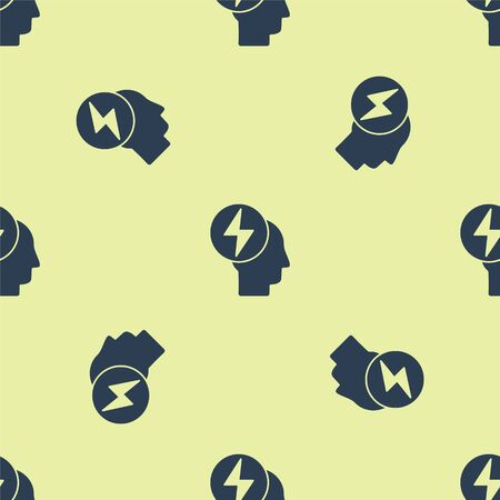 Blue Head and electric symbol icon isolated seamless pattern on yellow background. Vector Illustration