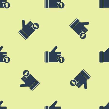 Blue Hand like icon isolated seamless pattern on yellow background. Vector Illustration Ilustrace