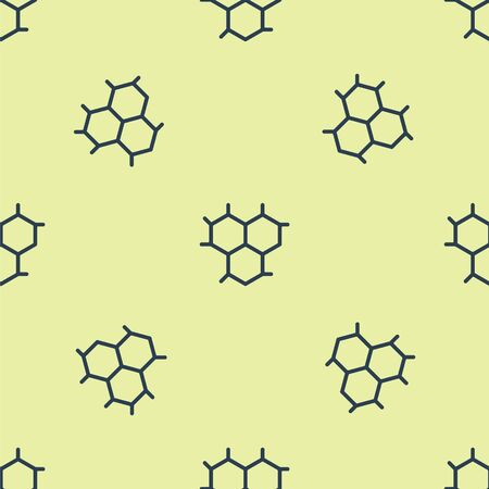 Blue Chemical formula icon isolated seamless pattern on yellow background. Abstract hexagon for innovation medicine, health, research and science. Vector Illustration