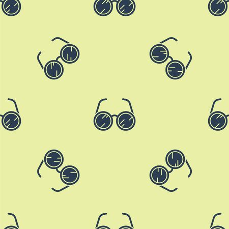 Blue Laboratory glasses icon isolated seamless pattern on yellow background. Vector Illustration