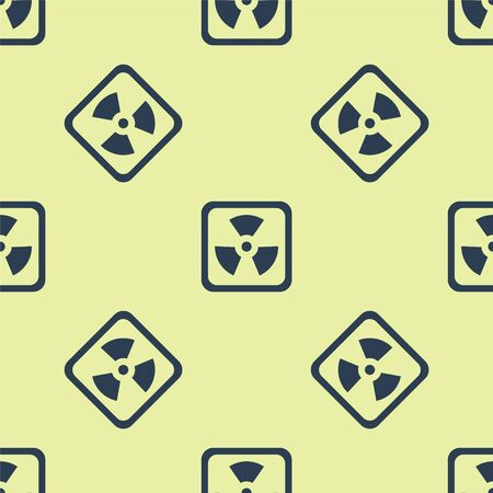 Blue Radioactive icon isolated seamless pattern on yellow background. Radioactive toxic symbol. Radiation Hazard sign. Vector Illustration