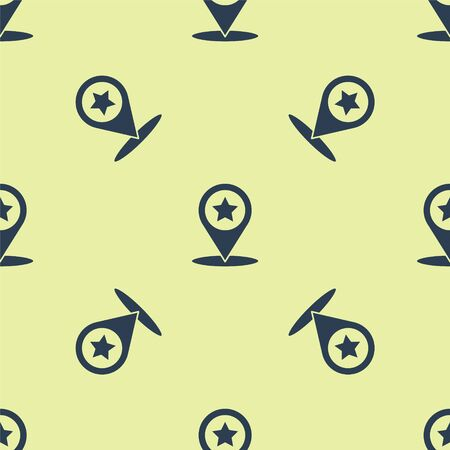 Blue Map pointer with star icon isolated seamless pattern on yellow background. Star favorite pin map icon. Map markers. Vector Illustration