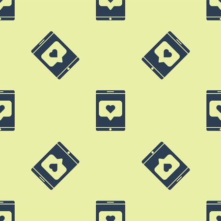 Blue Mobile phone and like with heart icon isolated seamless pattern on yellow background. Counter Notification Icon. Follower Insta. Vector Illustration