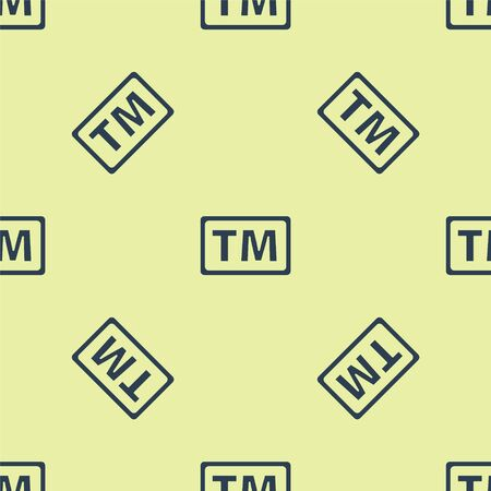 Blue Trademark icon isolated seamless pattern on yellow background. Abbreviation of TM. Vector Illustration