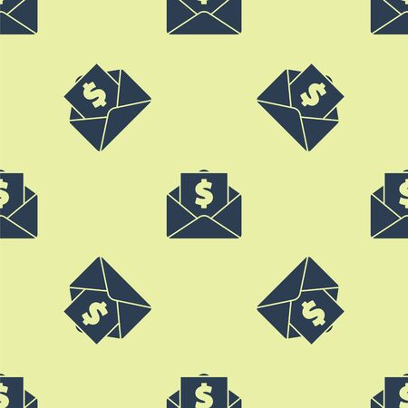 Blue Envelope with coin dollar symbol icon isolated seamless pattern on yellow background. Salary increase, money payroll, compensation income. Vector Illustration