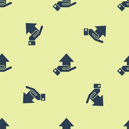Blue Money on hand icon isolated seamless pattern on yellow background. Palm holds cash with arrow up. Cash salary increase. Rising prices. Vector Illustration