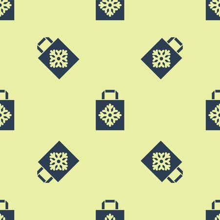 Blue Christmas paper shopping bag icon isolated seamless pattern on yellow background. Package sign. Merry Christmas and Happy New Year. Vector Illustration Stock Illustratie
