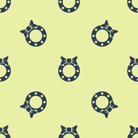 Blue Christmas wreath icon isolated seamless pattern on yellow background. Merry Christmas and Happy New Year. Vector Illustration