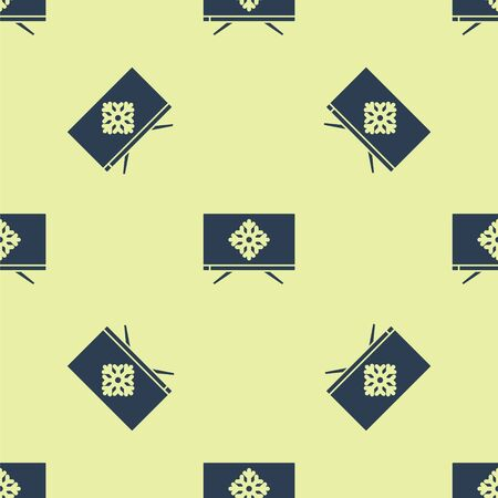 Blue Merry Christmas on television and snowflake icon isolated seamless pattern on yellow background. Happy New Year. Vector Illustration