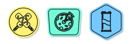 Set line Ice cream, Pizza and Soda can. Colored shapes. Vector Illustration