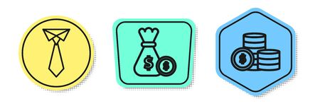 Set line Tie, Money bag and coin and Coin money with dollar symbol. Colored shapes. Vector