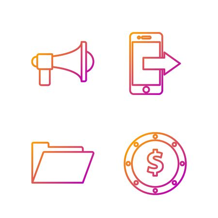 Set line Coin money with dollar symbol, Document folder, Megaphone and Smartphone, mobile phone. Gradient color icons. Vector
