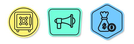 Set line Safe, Megaphone and Money bag and coin. Colored shapes. Vector