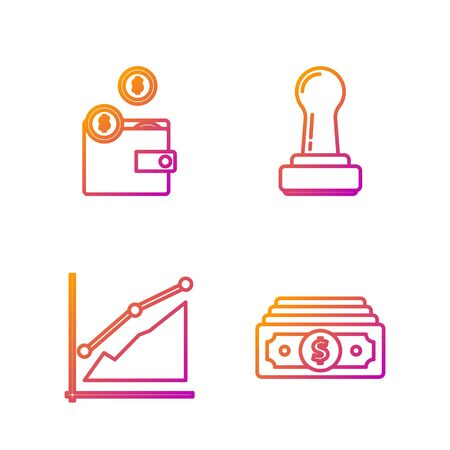 Set line Stacks paper money cash, Pie chart infographic, Wallet with coins and Stamp. Gradient color icons. Vector