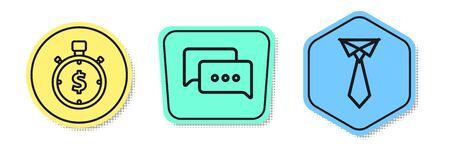 Set line Time is money, Speech bubble chat and Tie. Colored shapes. Vector