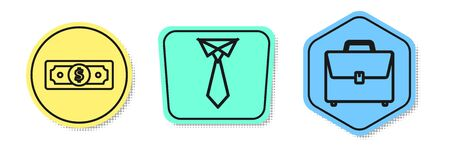 Set line Stacks paper money cash, Tie and Briefcase. Colored shapes. Vector