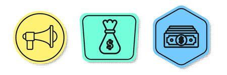Set line Megaphone, Money bag and Stacks paper money cash. Colored shapes. Vector