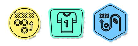 Set line Planning strategy concept, American football jersey and Planning strategy concept. Colored shapes. Vector