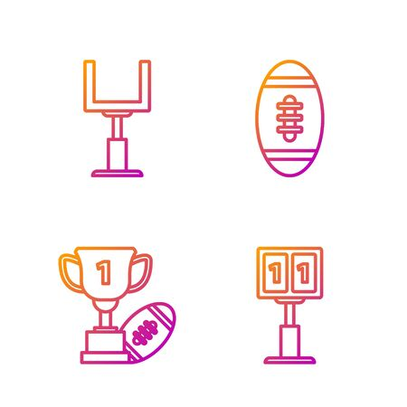 Set line Sport football mechanical scoreboard and result display, Award cup and American football ball, American football goal post and American Football ball. Gradient color icons. Vector