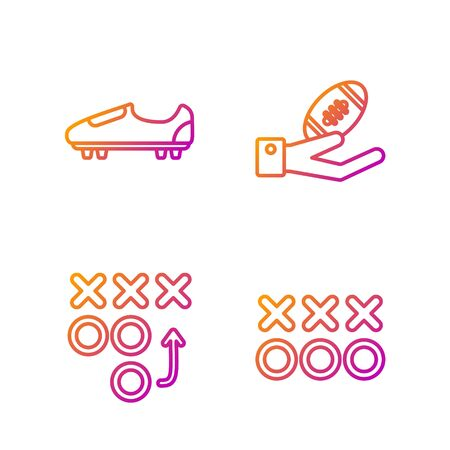 Set line Planning strategy concept, Planning strategy concept, Soccer or football shoes with spikes and American Football ball on hand. Gradient color icons. Vector