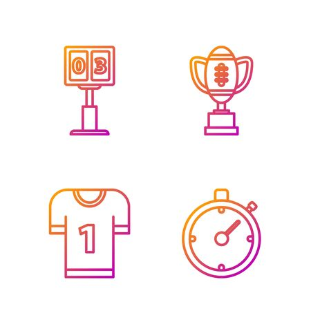 Set line Stopwatch, American football jersey, Sport football mechanical scoreboard and result display and Award cup and American football ball. Gradient color icons. Vector 版權商用圖片 - 135262187
