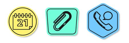Set line Calendar, Paper clip and Telephone handset and speech bubble chat. Colored shapes. Vector