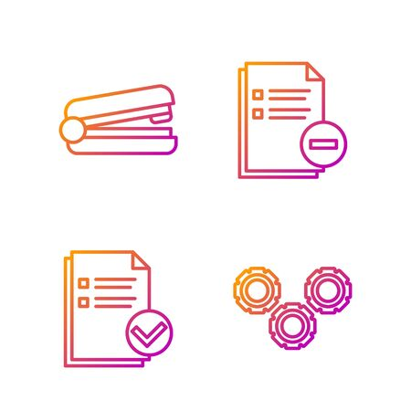 Set line Gear, Document and check mark, Office stapler and Document with minus. Gradient color icons. Vector
