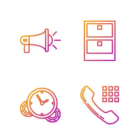Set line Telephone handset, Time Management, Megaphone and Archive papers drawer. Gradient color icons. Vector