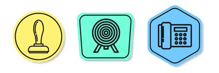 Set line Stamp, Target and Telephone. Colored shapes. Vector