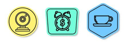 Set line Web camera, Alarm clock with dollar symbol and Coffee cup flat. Colored shapes. Vector Illustration