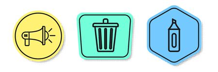 Set line Megaphone, Trash can and Marker pen. Colored shapes. Vector