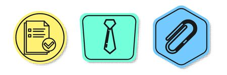 Set line Document and check mark, Tie and Paper clip. Colored shapes. Vector