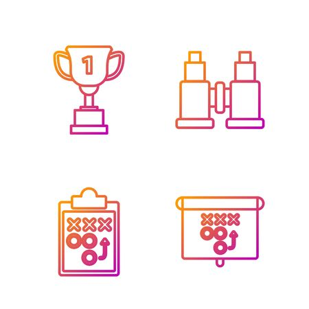 Set line Planning strategy concept, Planning strategy concept, Award cup and Binoculars. Gradient color icons. Vector