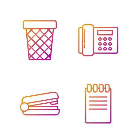 Set line Notebook, Office stapler, Trash can and Telephone. Gradient color icons. Vector Illusztráció