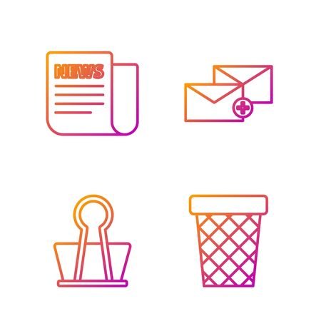 Set line Trash can, Binder clip, News and Envelope. Gradient color icons. Vector